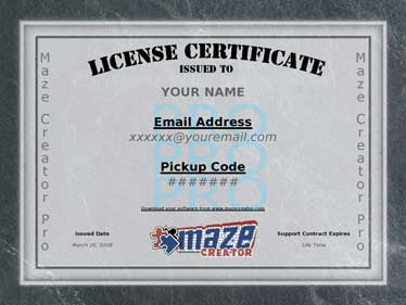 software license certificate template - maze creator newsletter sept 2008